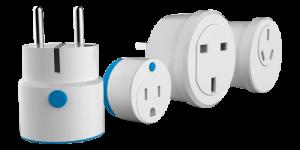 Fyra olika Smart Plugs för landspecifika vägguttag från Säkra Larms utbud